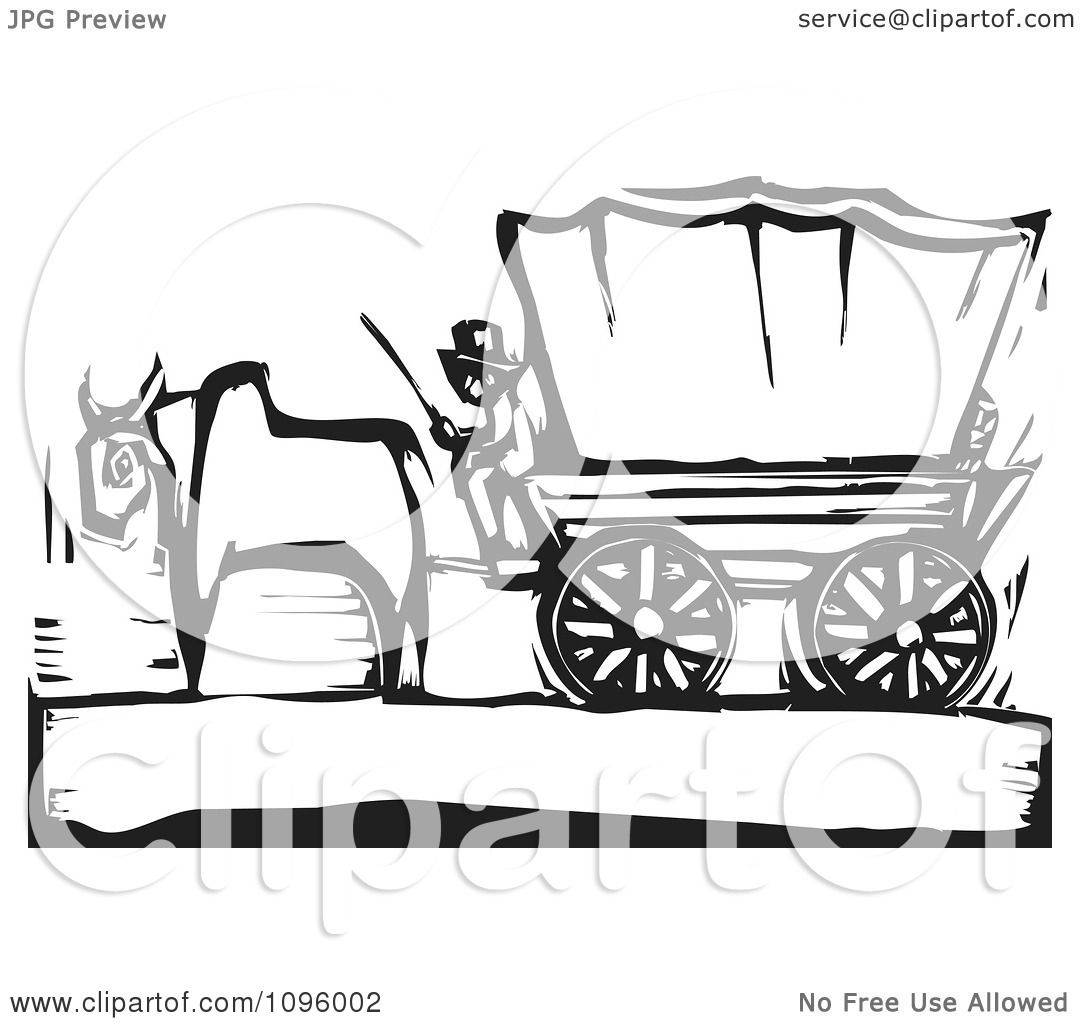 Clipart Pioneer And Ox With A Covered Wagon On The Oregon Trail ...