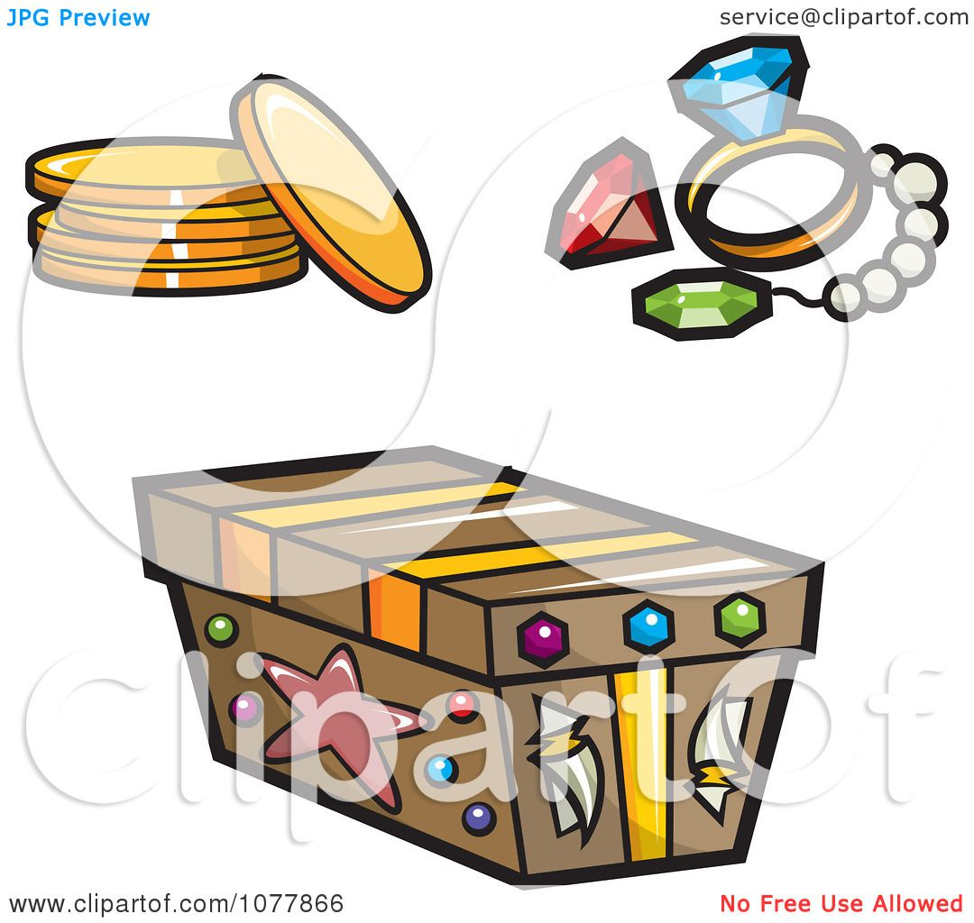 Clipart Pirate Booty And A Treasure Chest - Royalty Free Vector ...