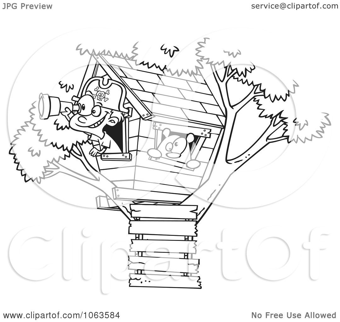 clipart pirate boy in his tree house black and white outline