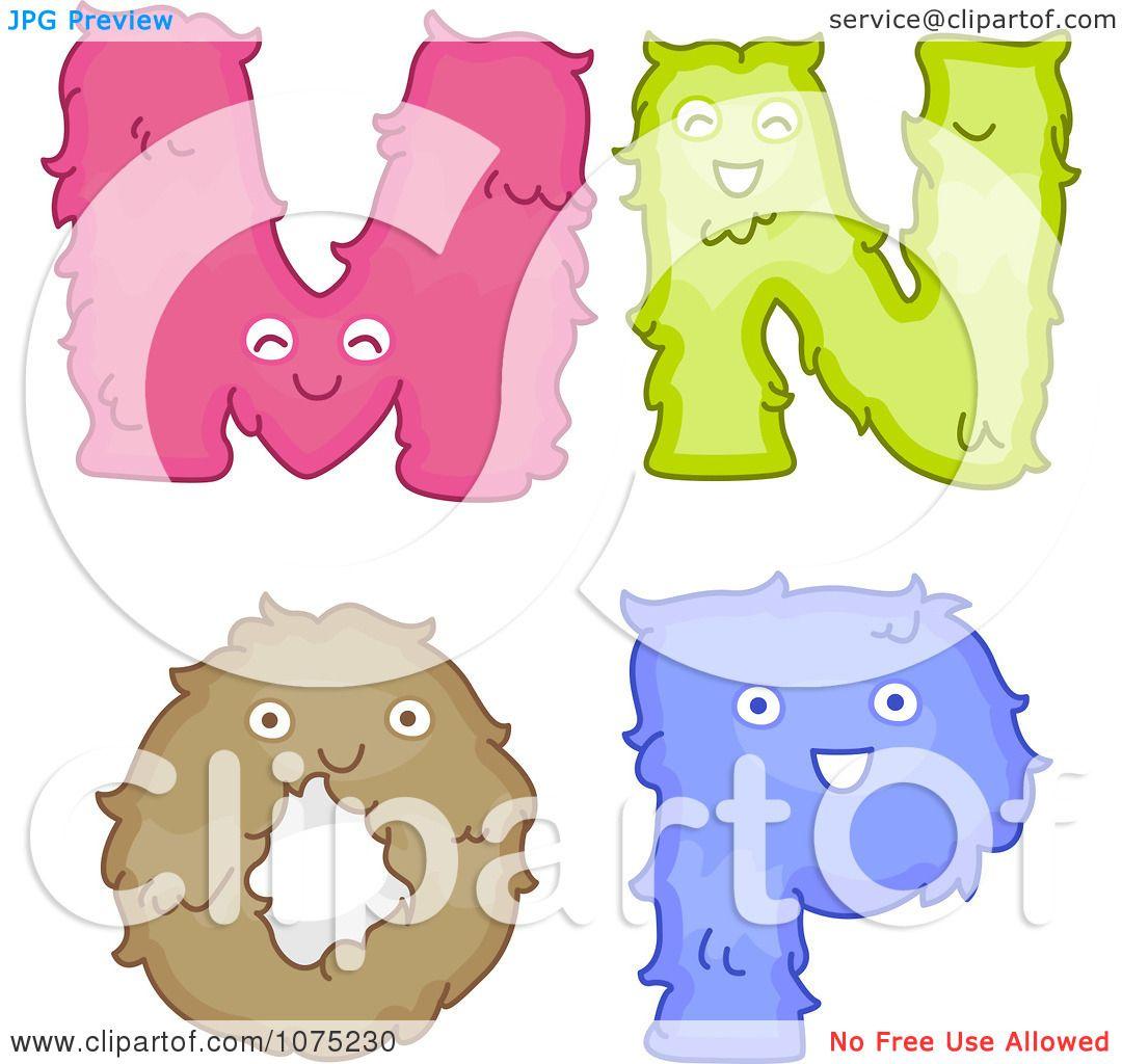 clipart plush alphabet letters m through p royalty free vector illustration by bnp design studio
