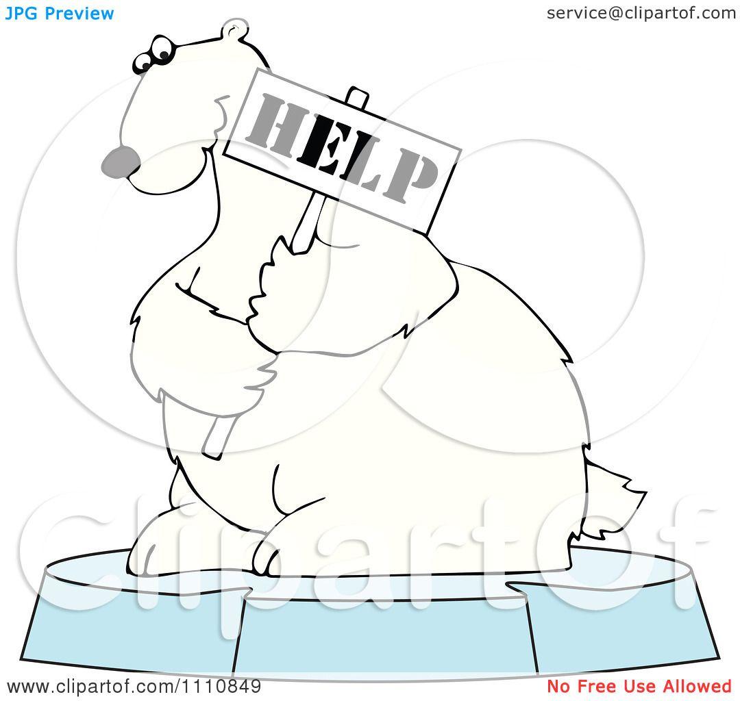 Clipart Polar Bear Holding A Help Sign On An Ice Floe ...