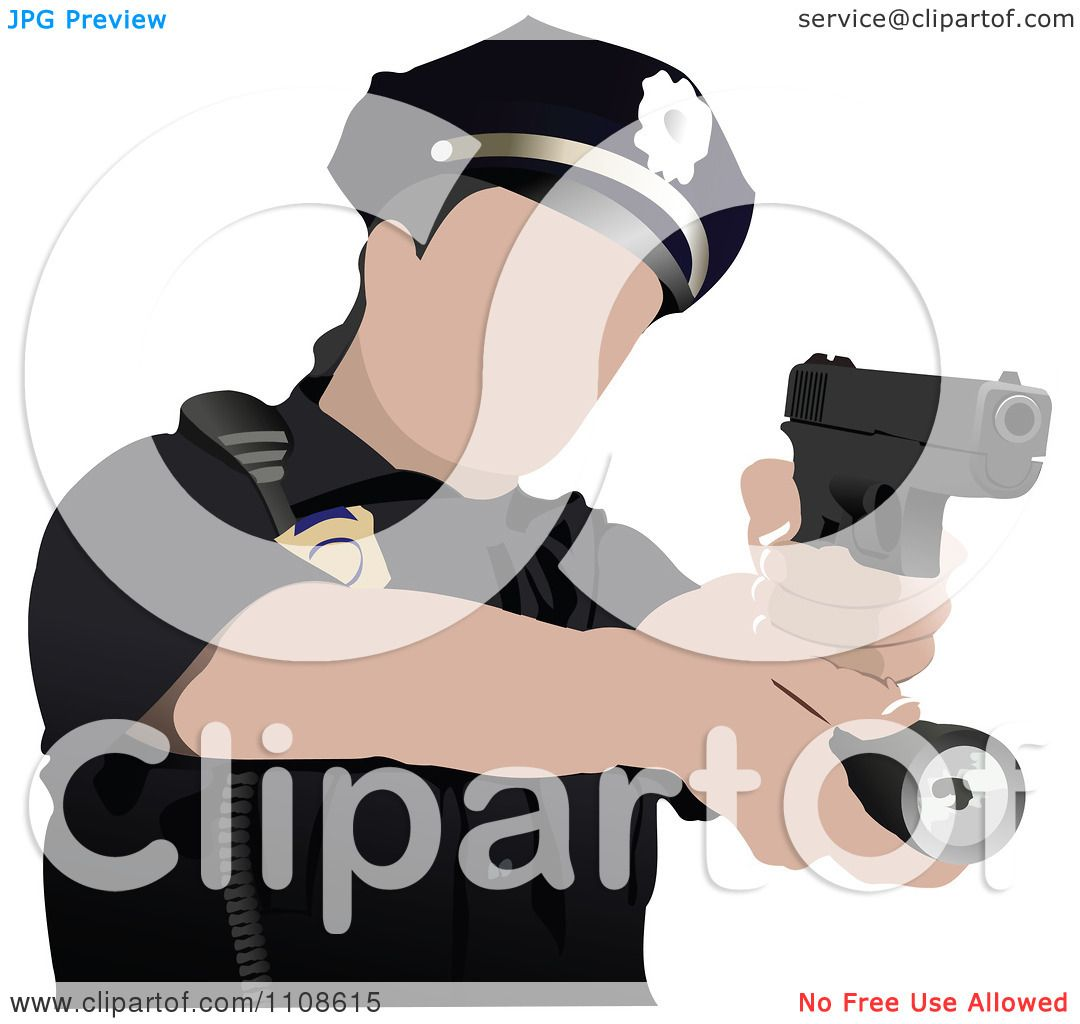 Clipart Police Woman Shooting