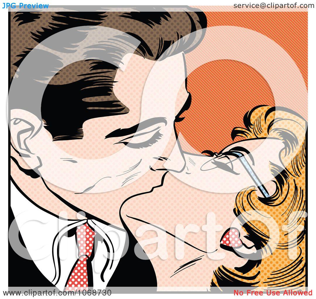 Clipart Pop Art Couple Kissing