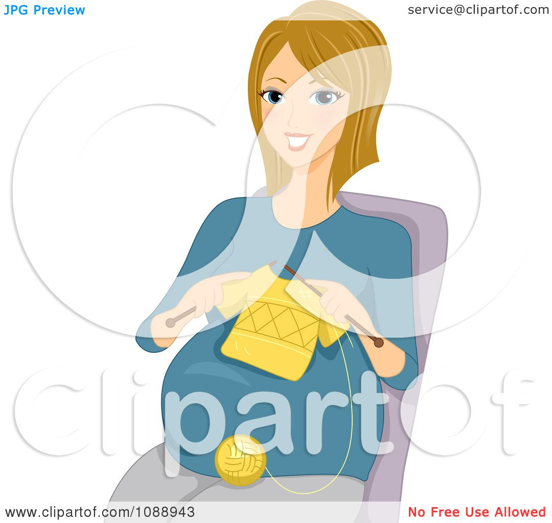 Person Knitting Clipart : Clipart pregnant woman knitting a baby shirt royalty