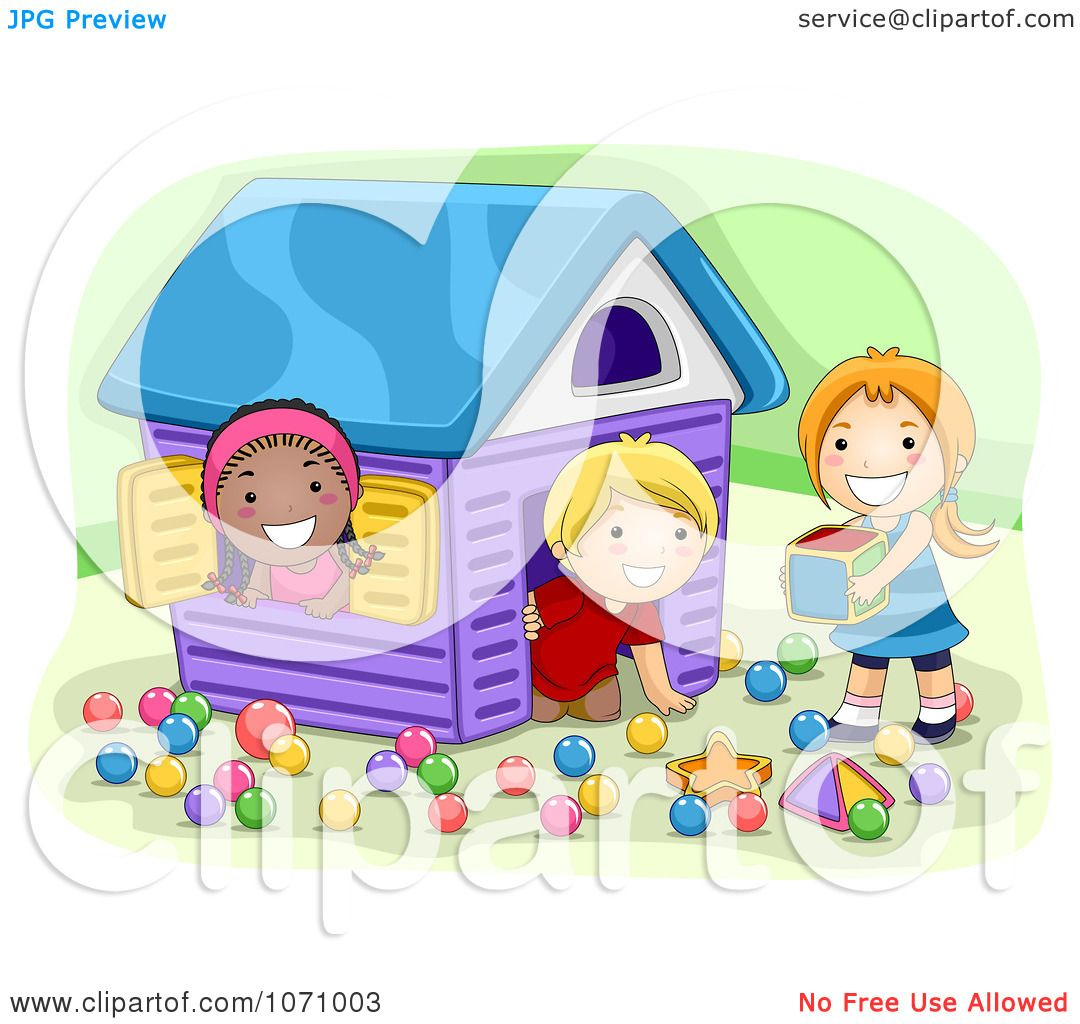 Clipart Preschool Kids Playing In A House - Royalty Free Vector ...