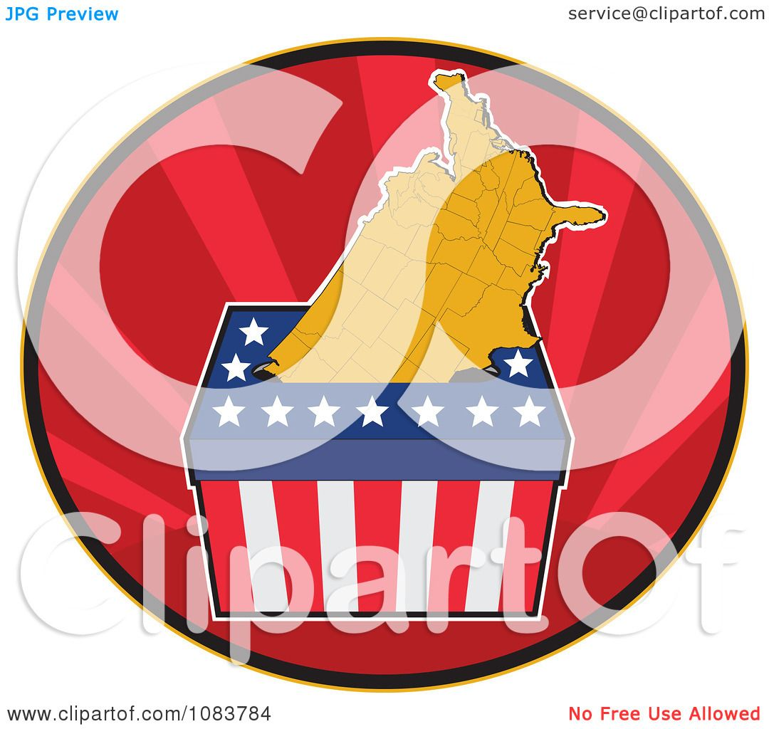 Clipart Presidential Election Ballot Box And Usa Map ...