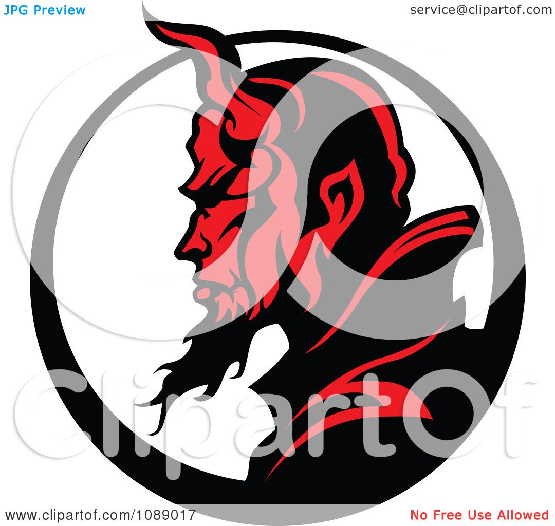 Clipart Profilked Devil Face Mascot And Circle
