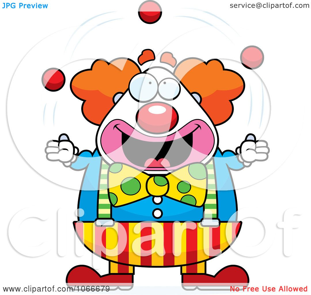 Clipart Pudgy Circus Clown Juggling - Royalty Free Vector ...