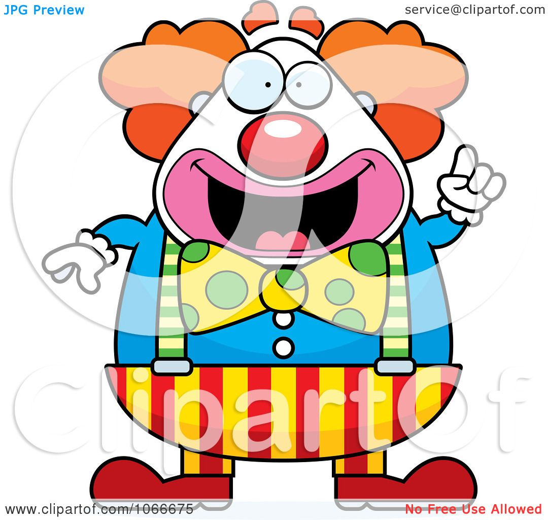 Clipart Pudgy Circus Clown With An Idea - Royalty Free Vector ...