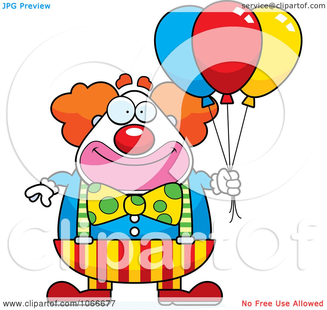 Clipart Pudgy Circus Clown With Party Balloons - Royalty Free ...