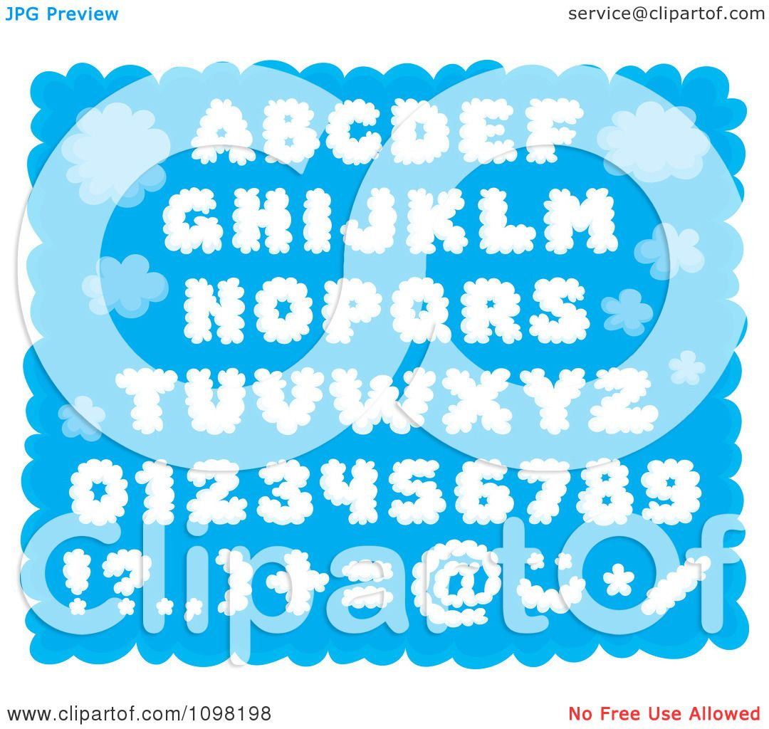 Clipart Puffy Cloud Capital Letters Numbers And