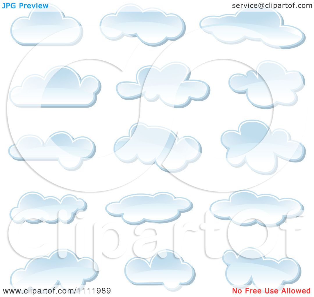 Clipart Puffy Cloud Icons - Royalty Free Vector ...