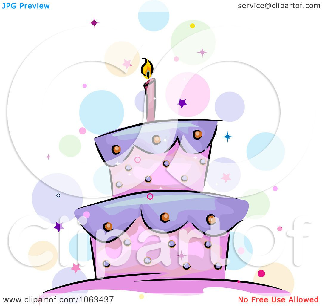 Clipart Purple And Pink Birthday Cake Royalty Free Vector