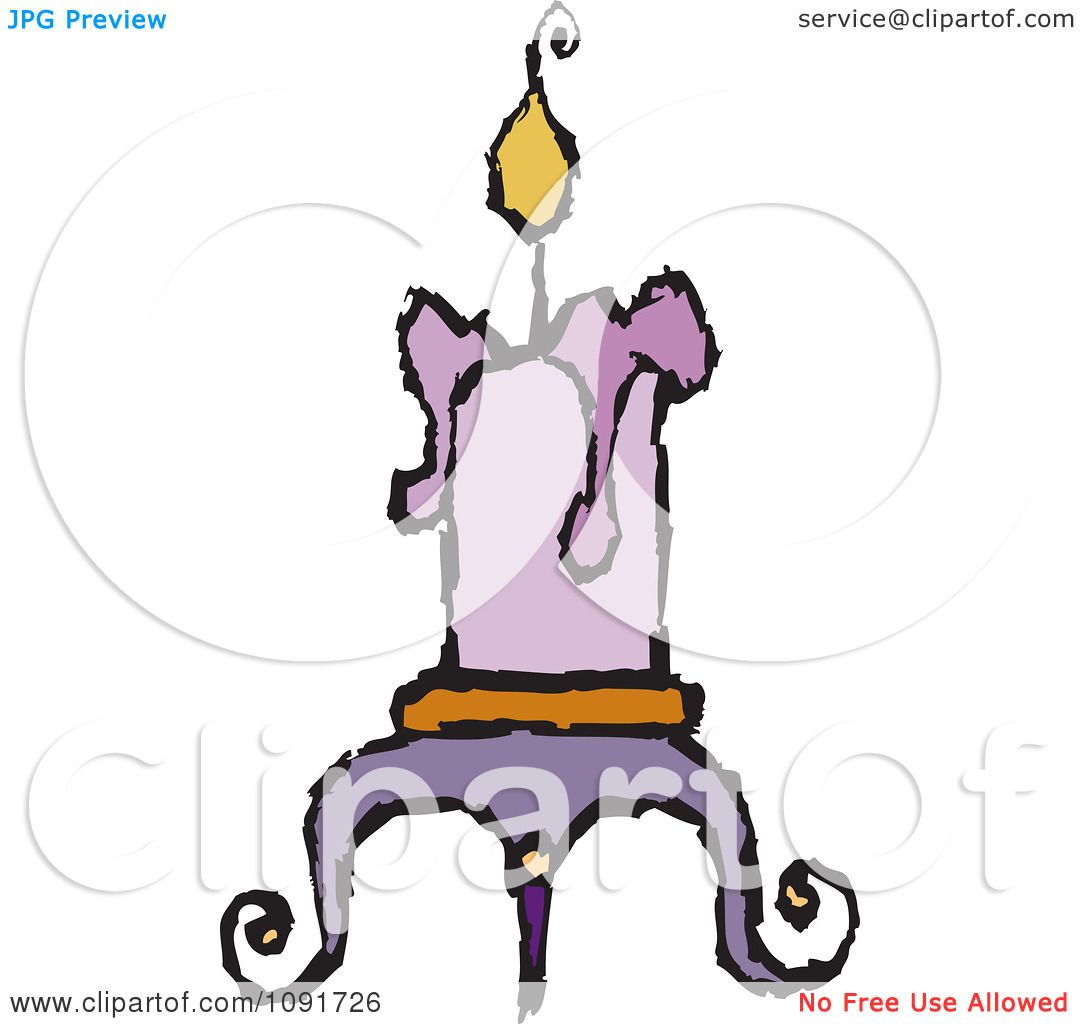 Clipart Purple Candle Burning On A Holder - Royalty Free Vector ...