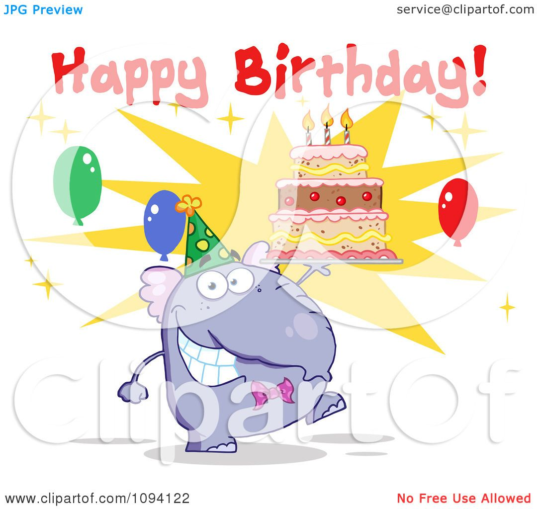 Clipart Purple Party Elephant Holding A Cake Under Happy Birthday Text