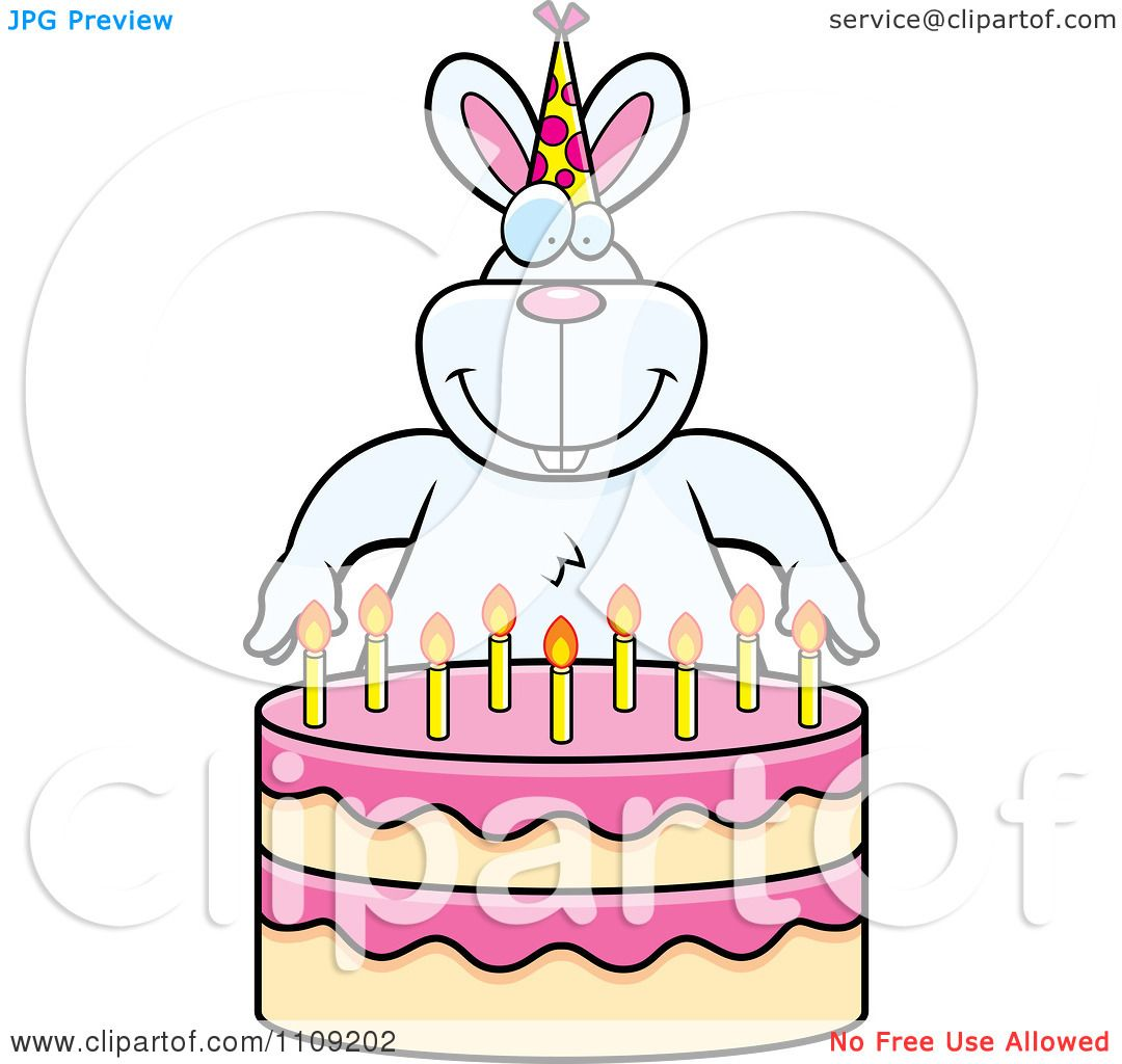 Royalty Free Birthday Images ~ Clipart rabbit making a wish over candles on birthday cake royalty free vector illustration