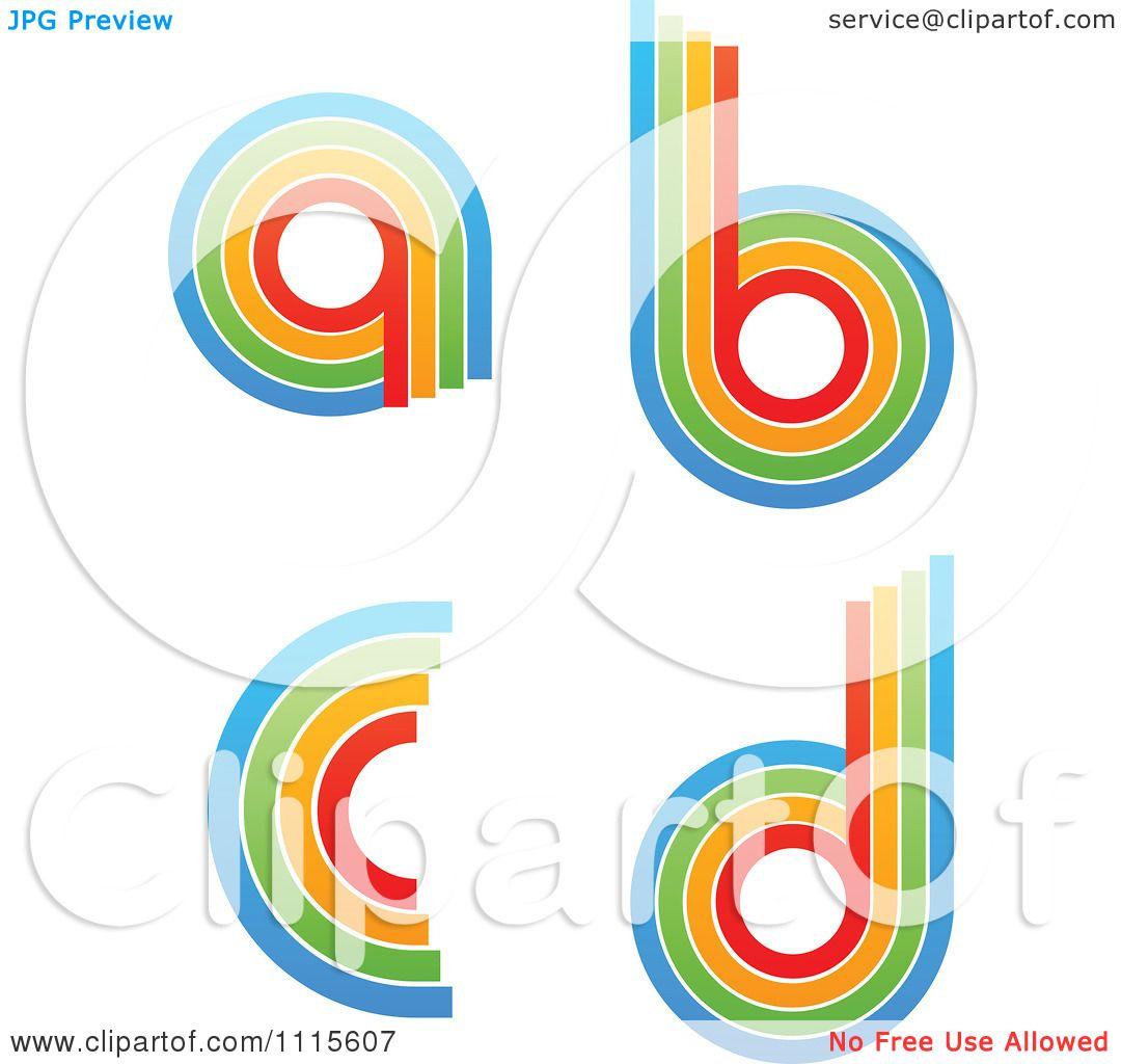 Clipart Rainbow Letters A B C D