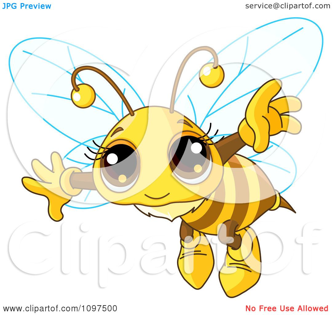 Clipart Really Cute Bee Flying - Royalty Free Vector ...