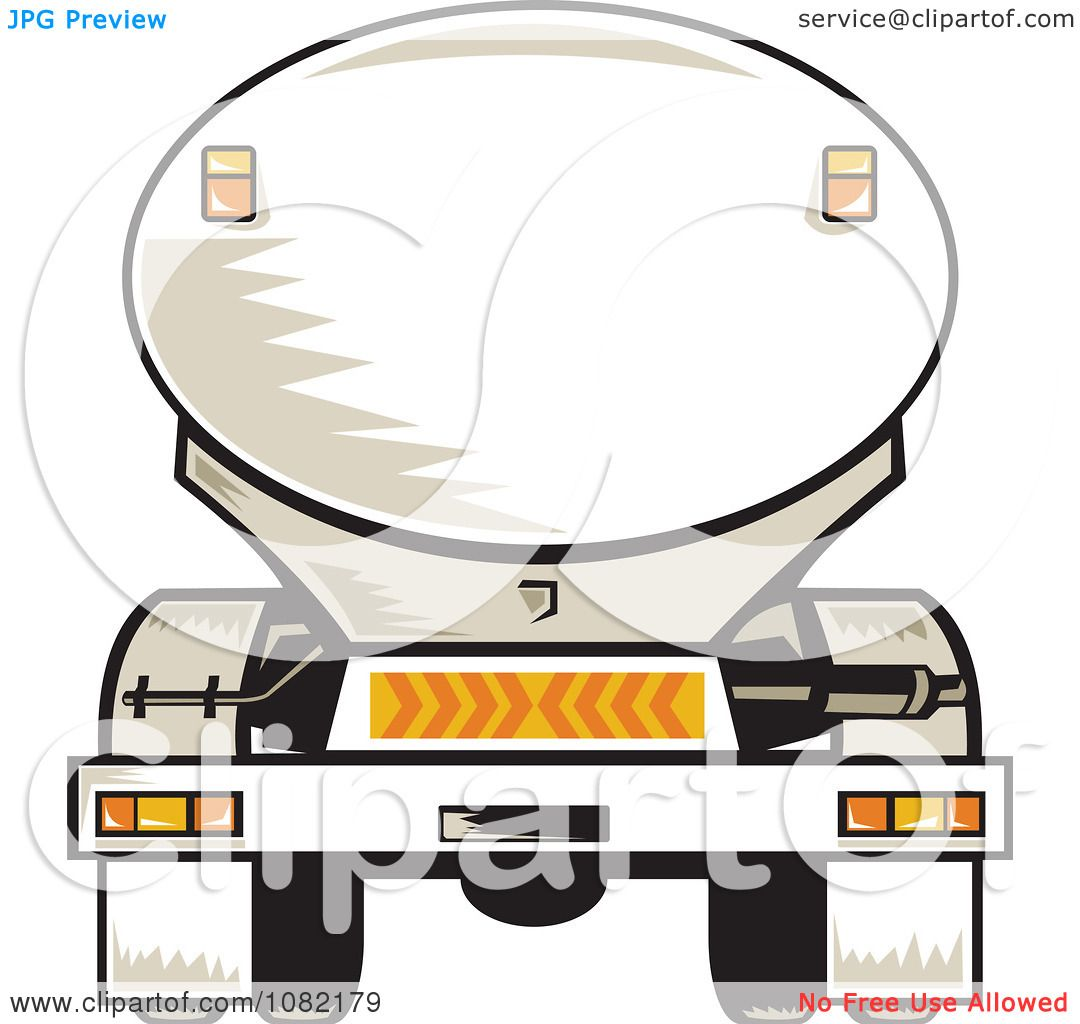 Clipart Rear Vview Of A Tanker Big Rig Truck - Royalty Free Vector ...