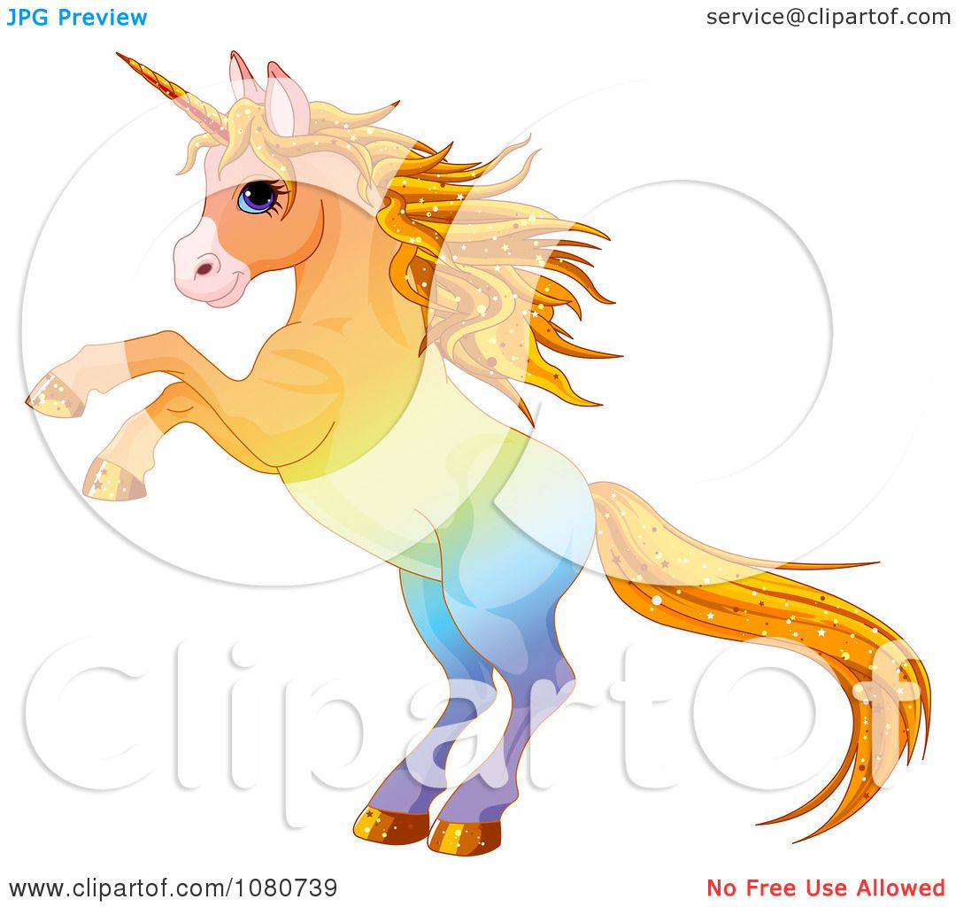 Clipart Rearing Colorful Unicorn With Sparkly Hair - Royalty Free ...