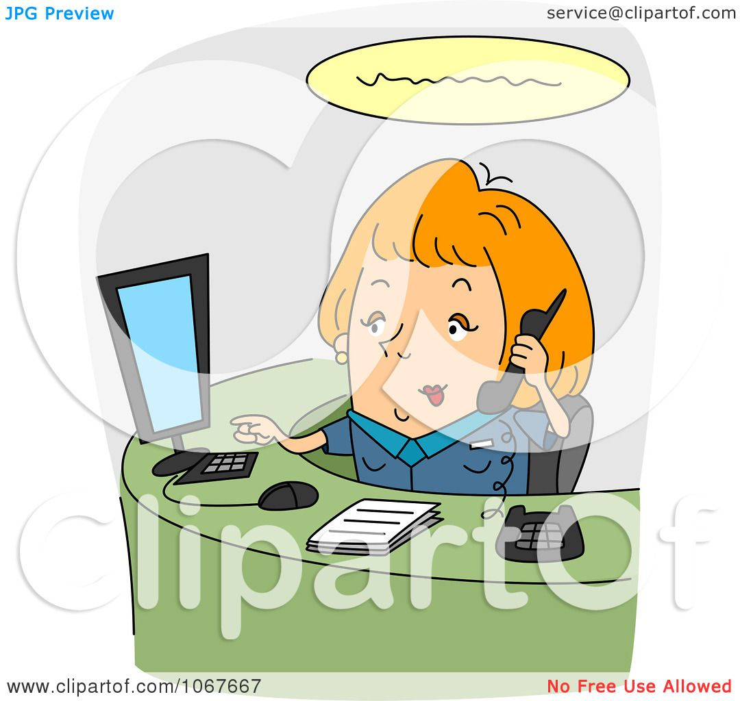 clipart receptionist working at her desk