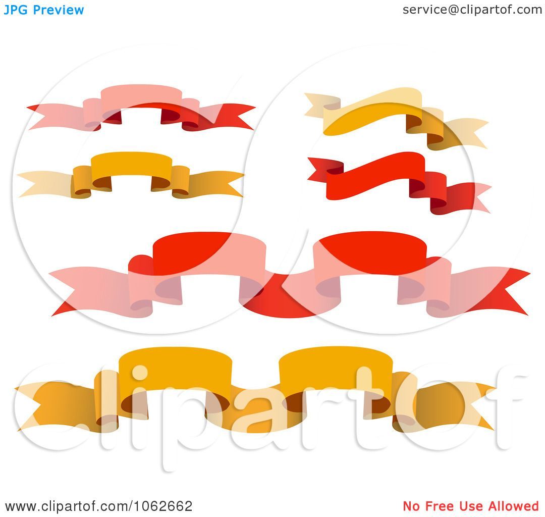 Clipart Red And Orange Banners Digital Collage - Royalty ...
