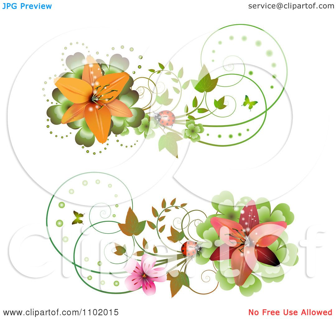 Clipart Red And Orange Lily And Ladybug Design Elements - Royalty ...