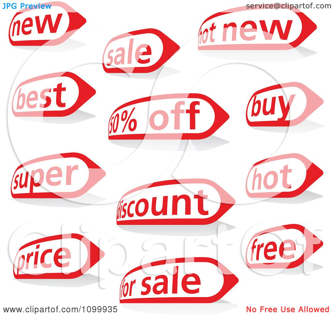 Clipart Red And White New Best And Sales Icon Labels - Royalty ...