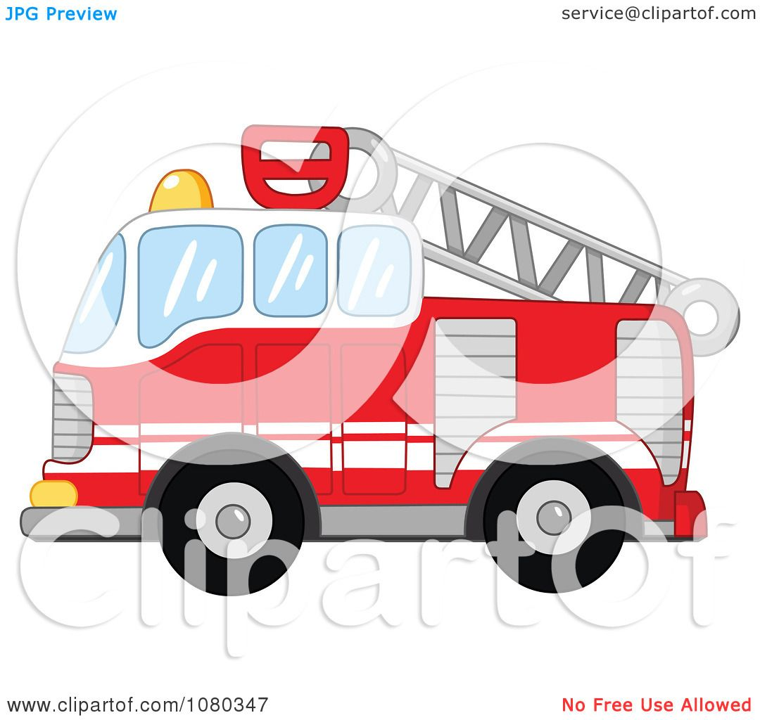 Clipart Red Fire Department Truck Engine - Royalty Free Vector ...