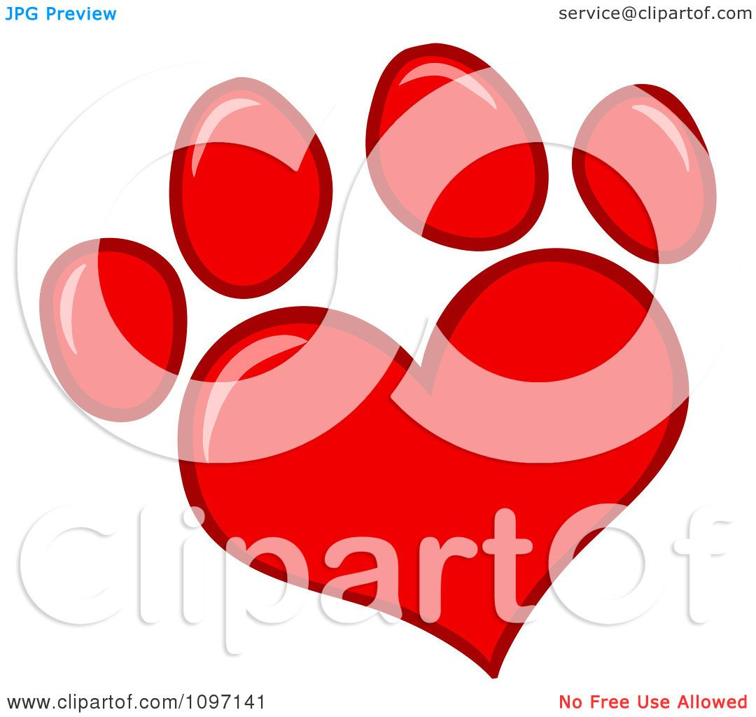 clipart red heart shaped dog paw print royalty free vector rh clipartof com Dog Paw Border Clip Art Cat Paw Print Heart Clip Art