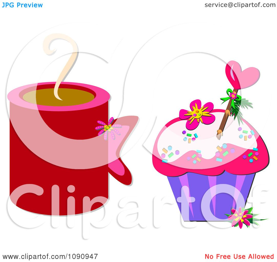 Clipart Red Hot Coffee Mug And A Valentine Cupcake ...