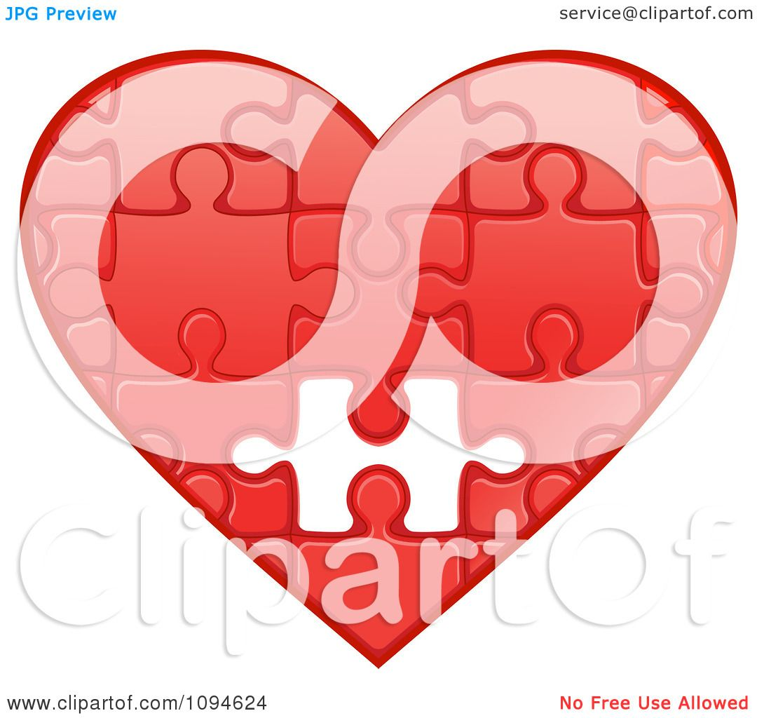 Clipart Red Puzzle Heart With One Missing Piece