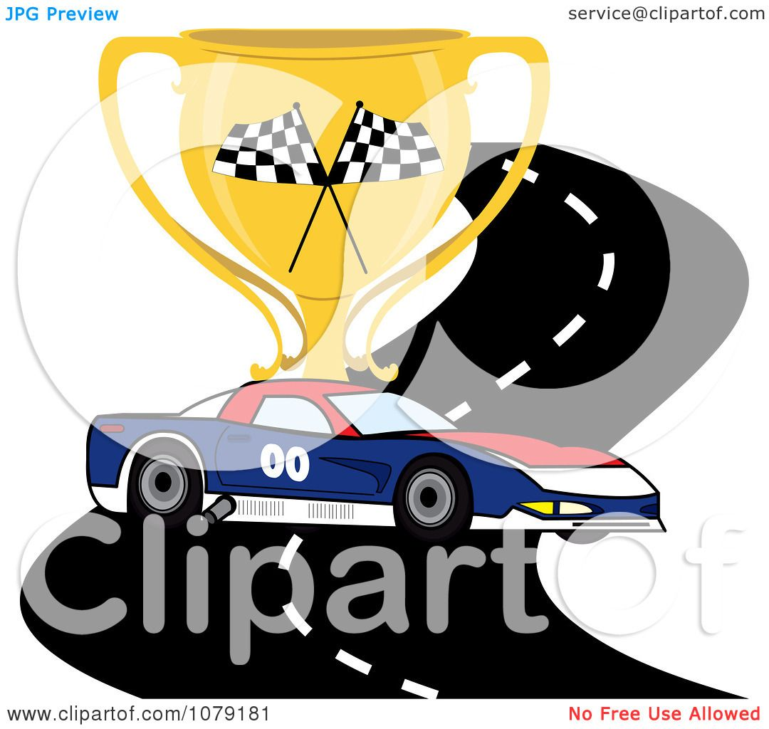 clipart red white and blue race car on a track with a trophy cup royalty free vector. Black Bedroom Furniture Sets. Home Design Ideas