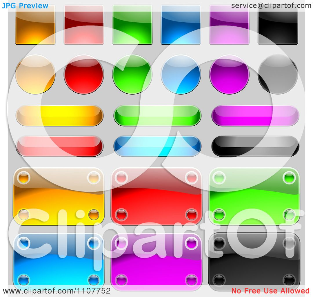 Clipart Reflective Plaques Icons And Buttons On Gray - Royalty ...