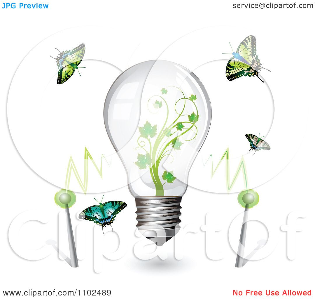 Clipart Renewable Green Energy Light Bulb With Butterflies