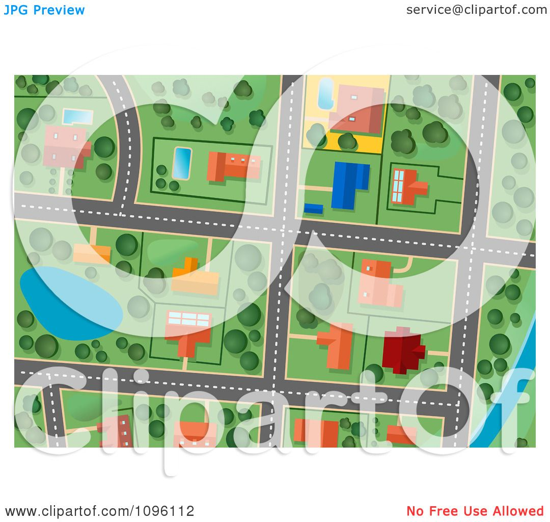 Clipart Residential Gps Street Map 1 Royalty Free Vector