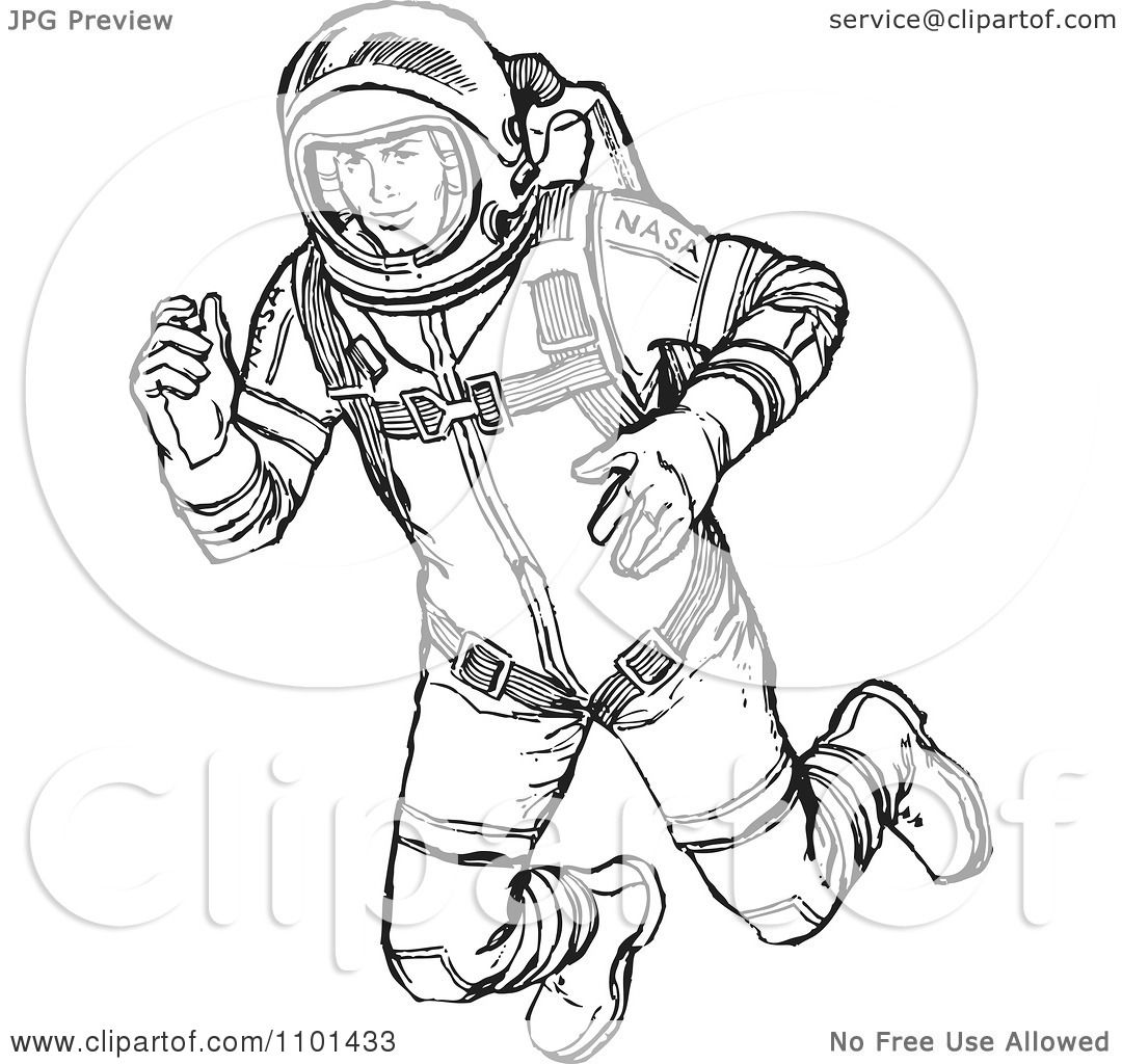 Clipart Retro Black And White Astronaut Floating In Outer Space    Retro Astronaut Drawing