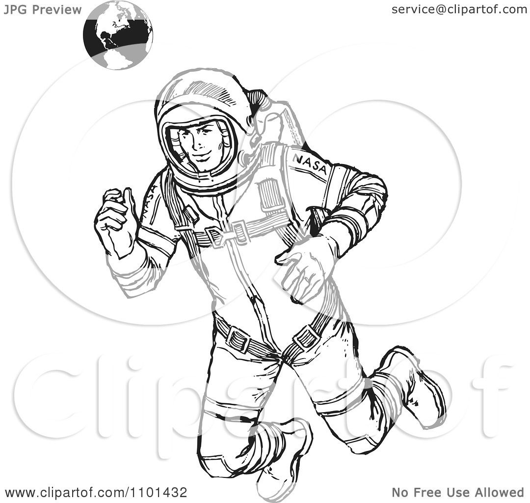 Clipart Retro Black And White Astronaut Floating With Earth In The    Retro Astronaut Drawing