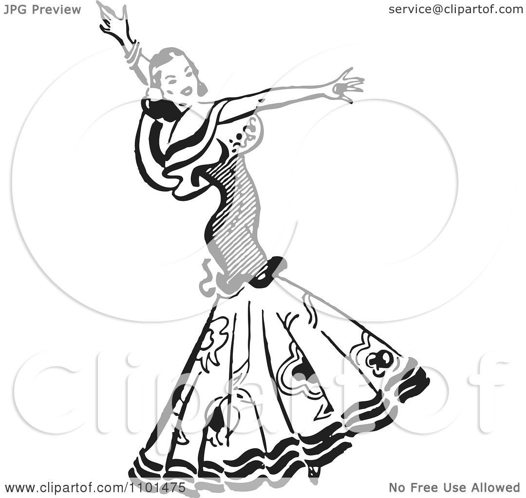 Clipart Retro Black And White Beautiful Mexican Flaminco