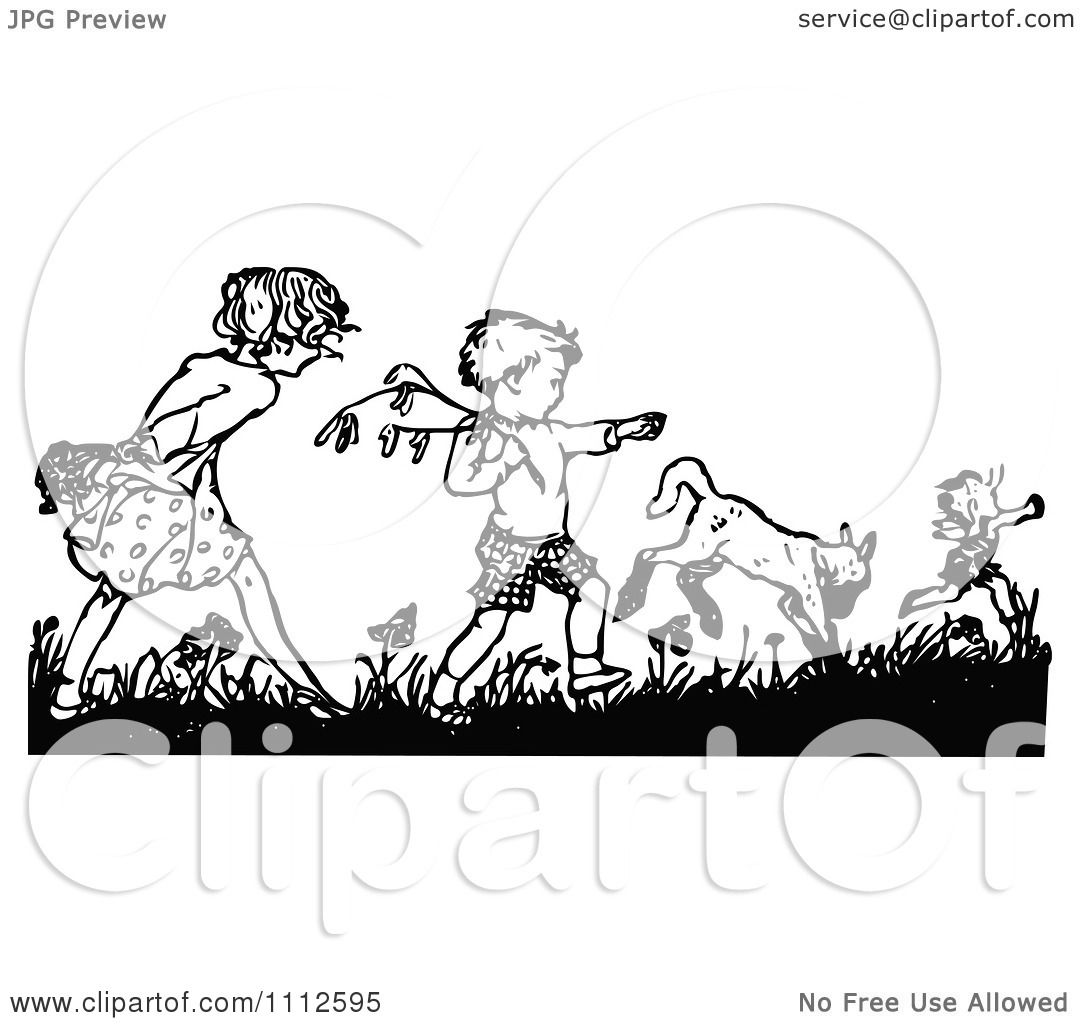 Clipart Retro Black And White Boy And Girl Picking Flowers Royalty