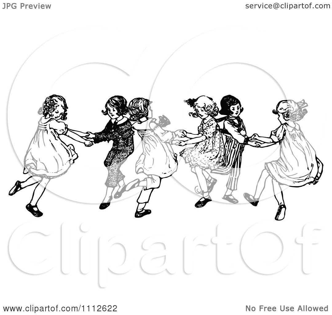 Clipart Retro Black And White Children Dancing - Royalty ...