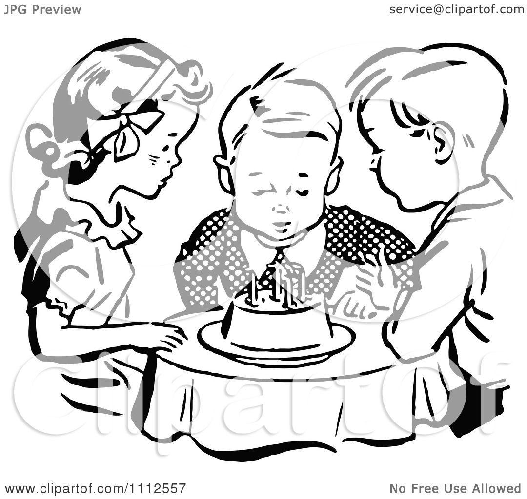 Birthday Cake Clip Art Black And White Blow