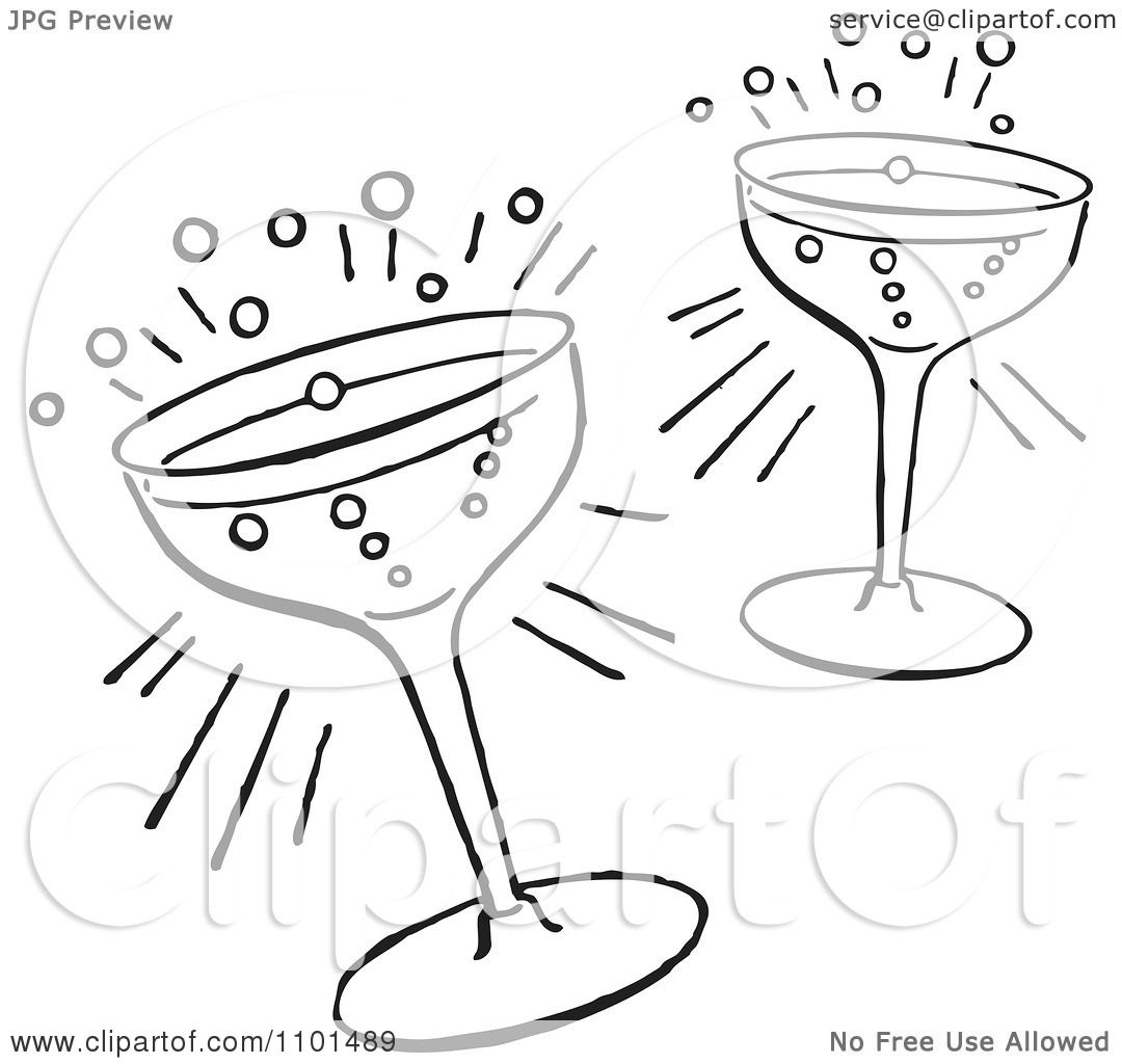 Clipart Retro Black And White Cocktail Glasses - Royalty ...