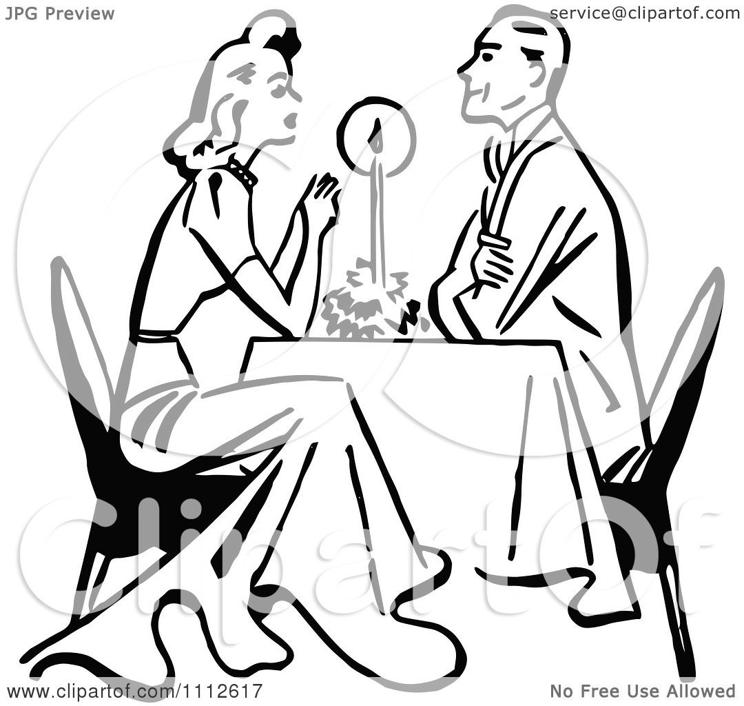 Clipart Retro Black And White Couple Dining By Candle