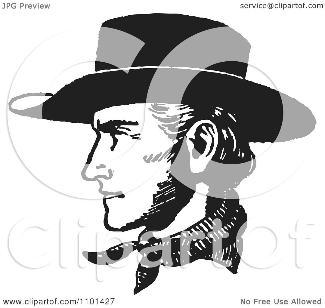 Clipart retro black and white cowboy face in profile royalty free vector illustration by - Clipart visage ...