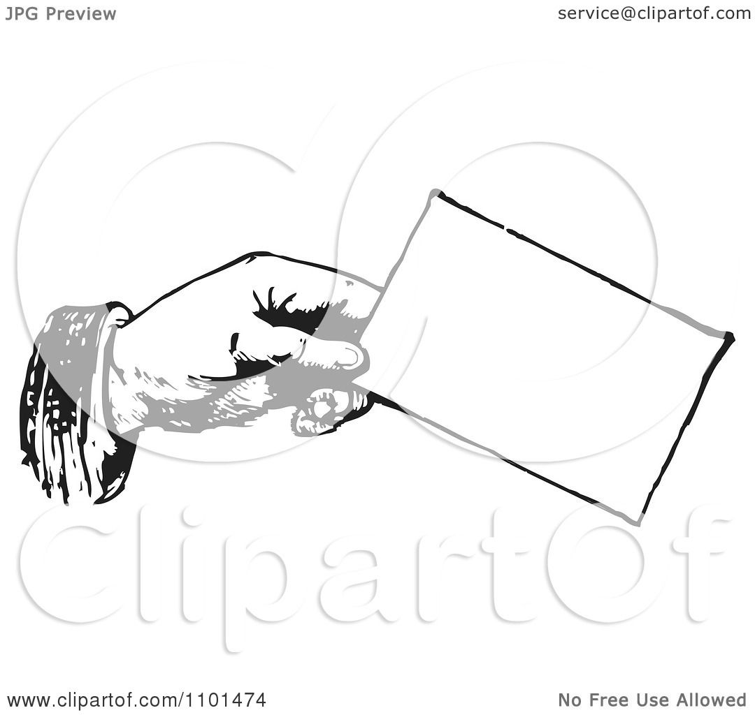 Clipart Retro Black And White Hand Holding A Business Card ...