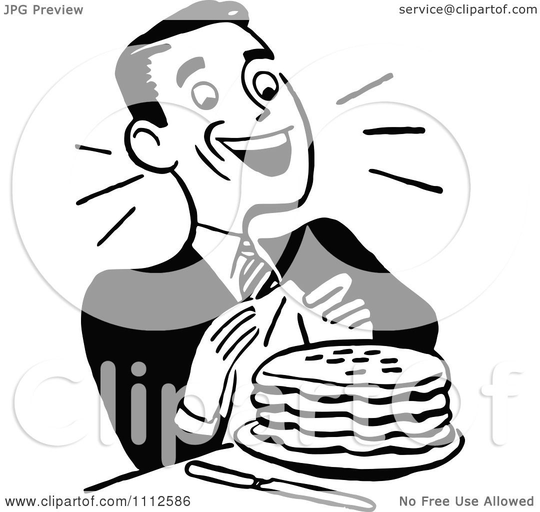 Clipart Retro Black And White Happy Man With Pancakes ...