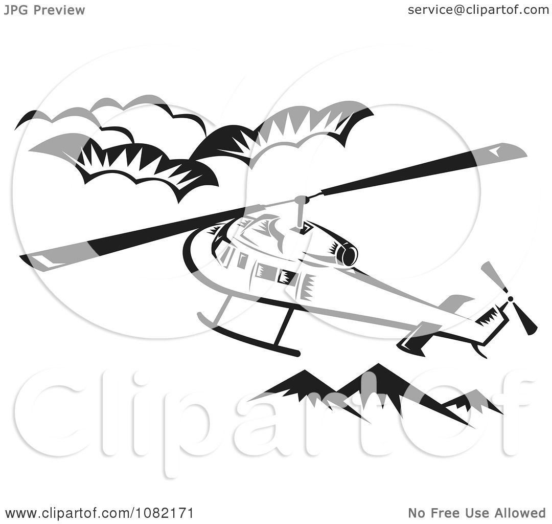 Clipart Retro Black And White Helicopter Above Mountains