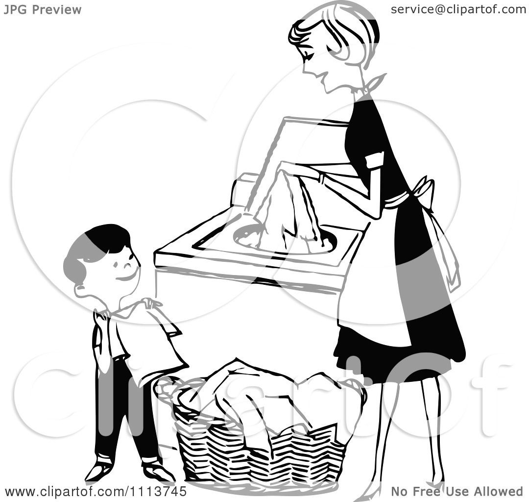 Clipart Retro Black And White Mother Son Folding Washing Laundry