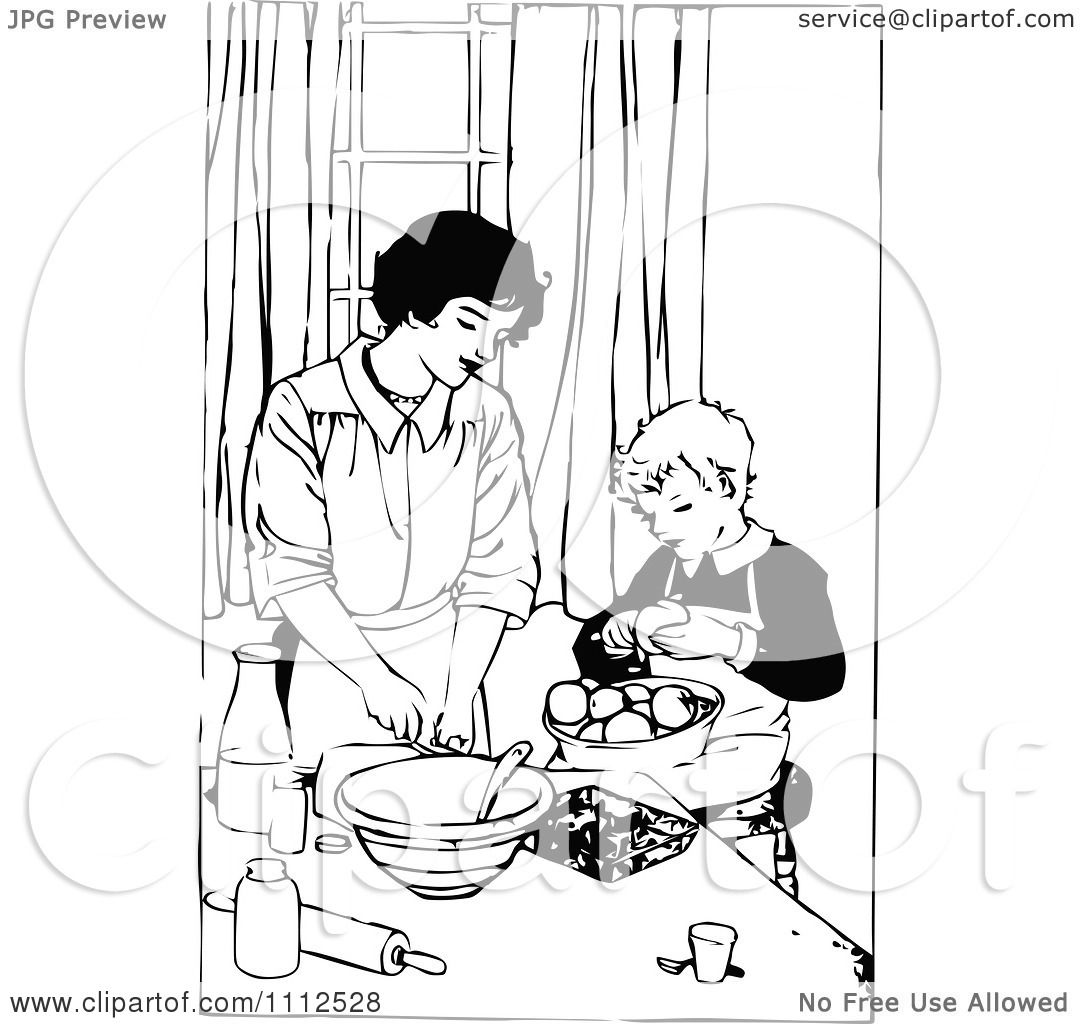 Clipart Retro Black And White Mother Cooking With Her Son ...